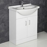 White Gloss Contemporary Bathroom Sink Cabinet - 650mm Width
