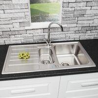 Modern Stainless Steel 1.5 Bowl Reversible Drainer Kitchen Sink Basket Wastes