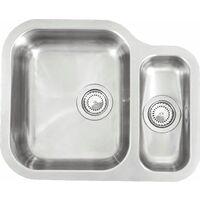 Reginox Alaska Undermount 1.5 Bowl Kitchen Sink Left Hand Stainless Steel Waste