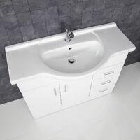 1050mm Bathroom Vanity Unit Basin Sink Tap + Waste White