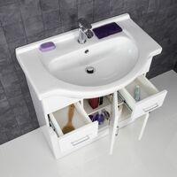 Bathroom Vanity Unit Basin Tap + Waste Gloss White Floorstanding
