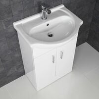 550mm Bathroom Vanity Unit Basin Sink Gloss With White Tap + Waste