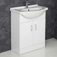 650mm Bathroom Vanity Unit & Basin Sink Gloss White Tap + Waste