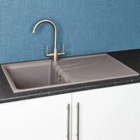 Reginox Elleci EGO400 Kitchen Sink Single Bowl Grey Granite Reversible Recessed