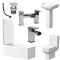 Complete Bathroom Suite 1700 Bath Single Ended Toilet Basin Taps