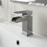 Waterfall Bathroom Basin Mono Mixer Tap Bath Mixer Tap Set Chrome Lever Modern