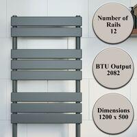 DuraTherm Flat Panel Heated Towel Rail Anthracite - 1200 x 500mm