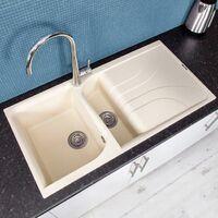 Reginox Elleci EGO475 Kitchen Sink 1.5 Bowl Cream Granite Inset Reversible Waste