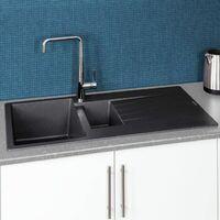 Reginox Harlem15 Kitchen Sink 1.5 Bowl Silver Black Granite Reversible Waste