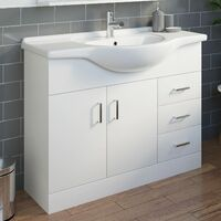 Bathroom Vanity Unit Basin Sink Contemporary Gloss White Tap + Waste