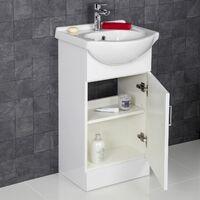450mm Bathroom Vanity Unit & Basin Sink Gloss White Tap + Waste