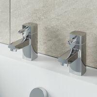 Bathroom Hot & Cold Basin Sink Taps Bath Taps Set Twin Chrome