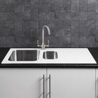Sauber Modern Stainless Steel Kitchen Sink White Glass Surround Drainer
