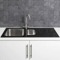 Säuber Kitchen Sink 1.5 1.5 Bowl RH Drainer Black Glass Stainless Steel Inset