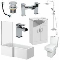 Complete Bathroom Suite L Shaped LH Bath Basin Vanity Unit Toilet