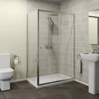 1200 x 800mm Sliding Shower Door Enclosure Side Panel 4mm Safety Glass Framed