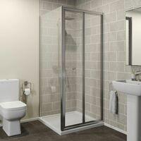 800mm x 800mm Bi Fold Shower Door Enclosure Glass Screen Side Panel Framed 4mm