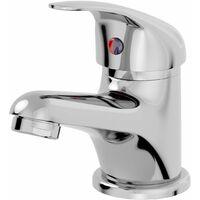 Bathroom Basin Mono Mixer Tap Waste Chrome Curved Single Lever