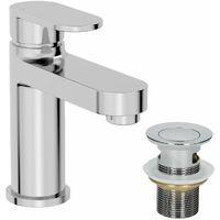 Bathroom Modern Basin Mixer Tap Waste Chrome Round Cloakroom