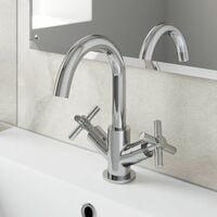Bathroom Mono Basin Mixer Tap Waste Modern Cross Head Handle