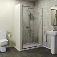 1200 x 800mm Sliding Shower Door Enclosure 4mm Glass Panel Framed Tray & Waste
