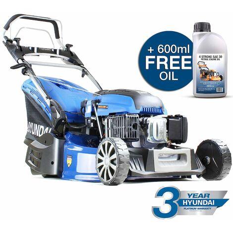 Hyundai HYM530SPER 173cc Petrol Lawnmowers Self Propelled Push Button Electric Start 21 Inch 52.5 Centimetre Cutting Width Rear Roller Mower, Steel Deck, Included Engine Oil