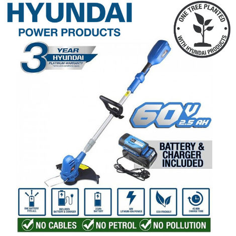 Hyundai HYTR60LI 60v Lithium-ion Cordless Battery Grass Trimmer With Battery & Charger