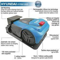 Hyundai HYRM1000 240V 50W 18cm 180mm Ultra Quiet Robotic Lawn Mower