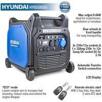 Hyundai HY6500SEi 230V Petrol 6600W/6.6kW Remote Electric Start Portable Inverter Generator