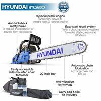 Hyundai HYC6200X Petrol Chainsaw 62cc 2-Stroke easy-start
