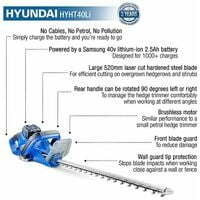 Hyundai HYHT40Li 40v Lithium-ion Battery Hedge Trimmer With Battery and Charger