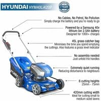 Hyundai 40V Lithium-Ion Cordless Battery Powered Lawn Mower 42cm Cutting Width With Battery and Charger | HYM40LI420P