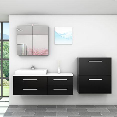 Badmöbel Set City 210 V6 Esche schwarz, Badezimmermöbel, Waschtisch 140cm -16890- ohne Spiegelschrankbeleuchtung