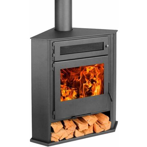 Estufa de rincon R5 con horno Titanium leña Doble combustion 8Kw A+