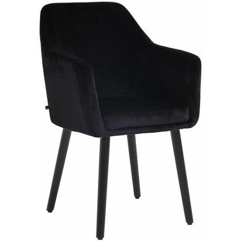 Chaise retro de salle à manger Utrecht en velours noir Noir