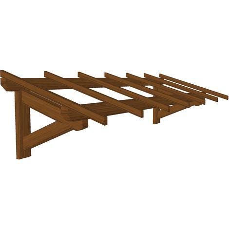 Marquise & Auvent en bois   Garage - Durable -Traitée Marron - 3 x 1.10 m