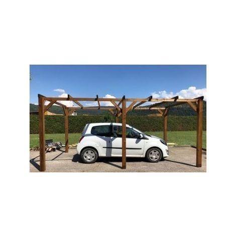 Garage voiture en bois   15 m2 - 3 x 5   plat & autoportant