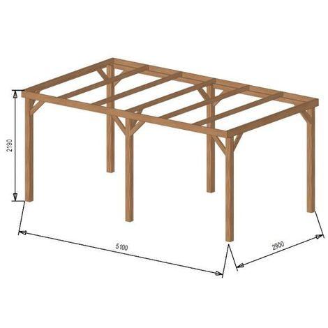 Carport bois avec bandeau 15m² 3 x 5 1 à 2 places - Autoporté