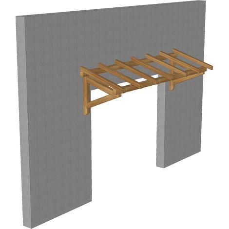 Marquise & Auvent en bois | Garage - Robuste -Traitée Marron - 3 x 1.10 m