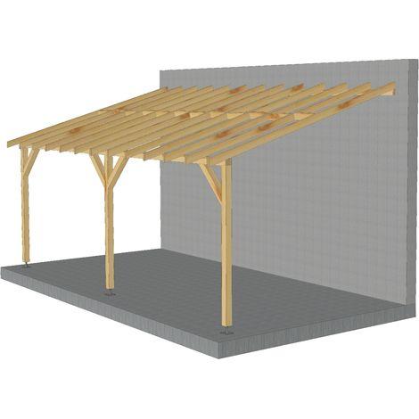 Toit de terrasse |6x3| - Pente 30% - Bois massif - Durable |Sans la visserie et sans les pieds de poteaux