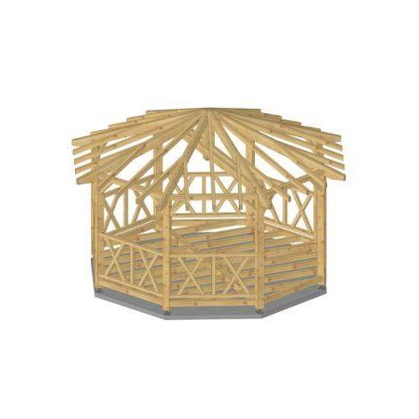 Kiosque Tonnelle 25m2 en bois massif avec plancher