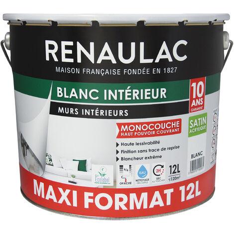 Peinture intérieur Blanc Satin Murs & Plafonds Monocouche Acrylique 12L - 120m² - Renaulac - Blanc