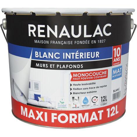 Peinture intérieur Blanc Mat Murs & Plafonds Monocouche Acrylique 12L - 120m² - Renaulac - Blanc