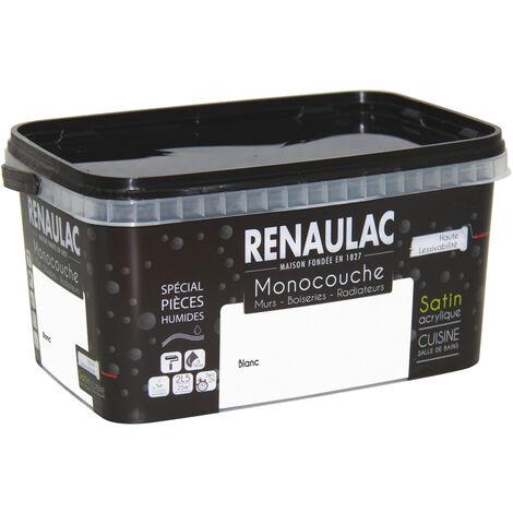 Renaulac Peinture monocouche Cuisine & Salles de Bain, Spéciale pièces humides, Blanc Mat 2,5L - 25m² - Blanc