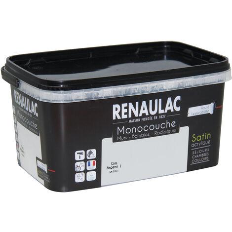 Renaulac Peinture monocouche multisupports Gris Argent Satin 2,5L - 25m² - Gris Argent