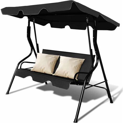 Hollywoodschaukel Schaukelbank Gartenschaukel 3-Sitzer mit Sonnendach