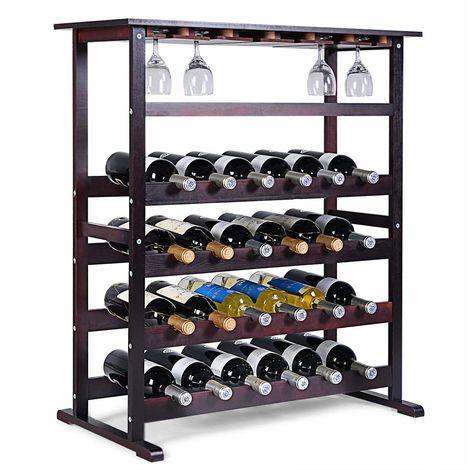 COSTWAY Weinregal Holz, Flaschenregal für 24 Flaschen, Glaeserregal Flaschenstaender, Weinstaender mit Weinglashalter, Flaschenstaender 80 x 41,5 x 90,5 cm