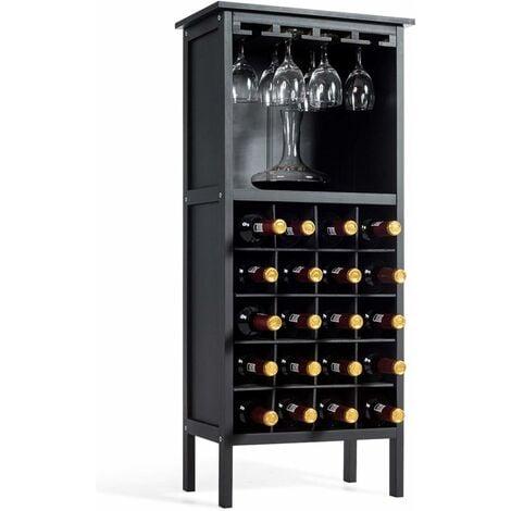 COSTWAY Weinschrank für 20 Flaschen, Weinregal Holz, Flaschenregal mit Glasaufhaenger, Weinstaender, Glaeserregal fuer Kueche, Bar, Flaschenstaender 42x24,5x96cm Schwarz