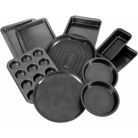 COSTWAY 10-teiliges Backblech-Set, Kuchenblech antihaftbeschichtet, Ofenblech aus Karbonstahl, Pizzablech schwarz
