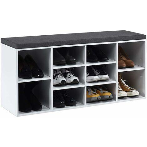 COSTWAY Schuhbank mit Sitzflaeche, Schuhregal Holz, Schuhkommode Schuhablage Schuhschrank, Sitzbank mit Regal, mit Sitzkissen,Weiss